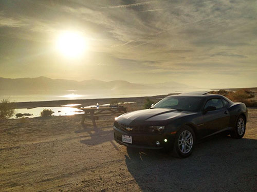 iphone shot of my beautiful Camero hire car at the Salton Sea whilst we were time-lapsing.