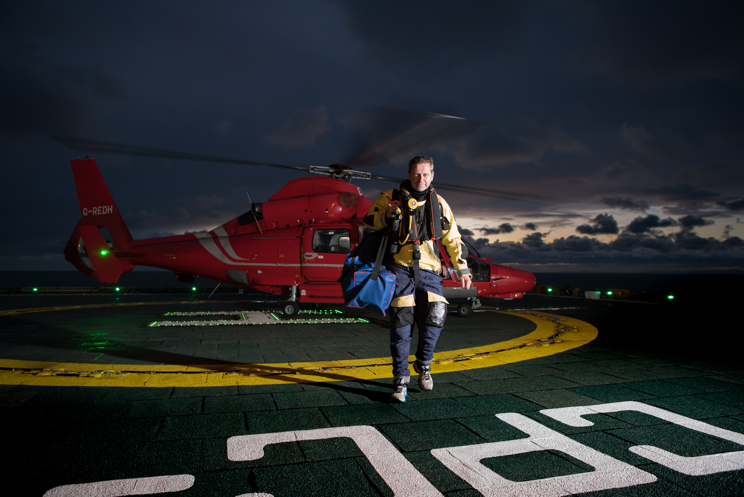 Offshore medic Norman Todd on the heli deck of the Morecambe Bay Gas Rig