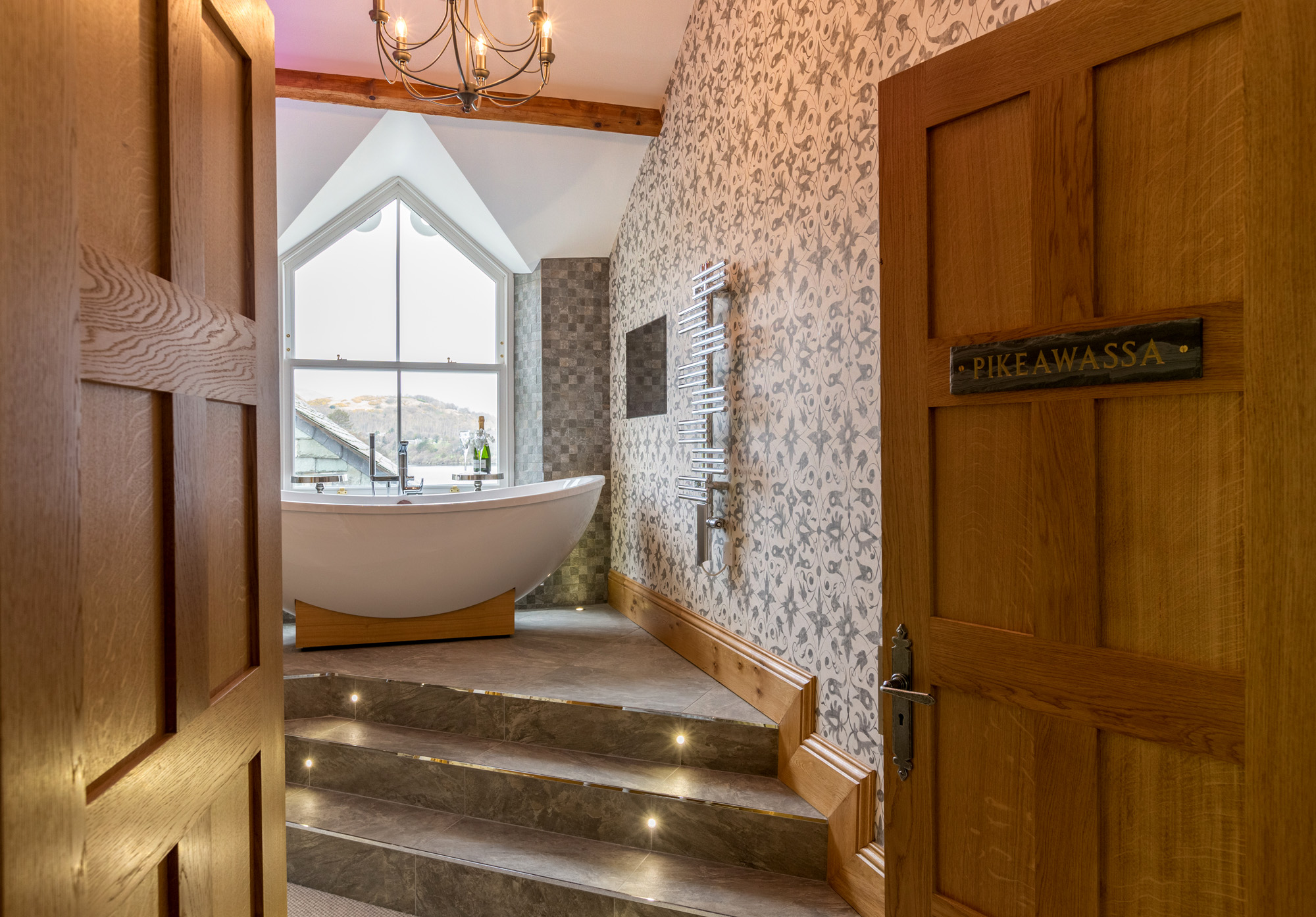 Bathroom at Waternook, Howtown. Overlooking Ullswater in the Lake District, UK. Copyright Ben Barden Photography Ltd. 2015