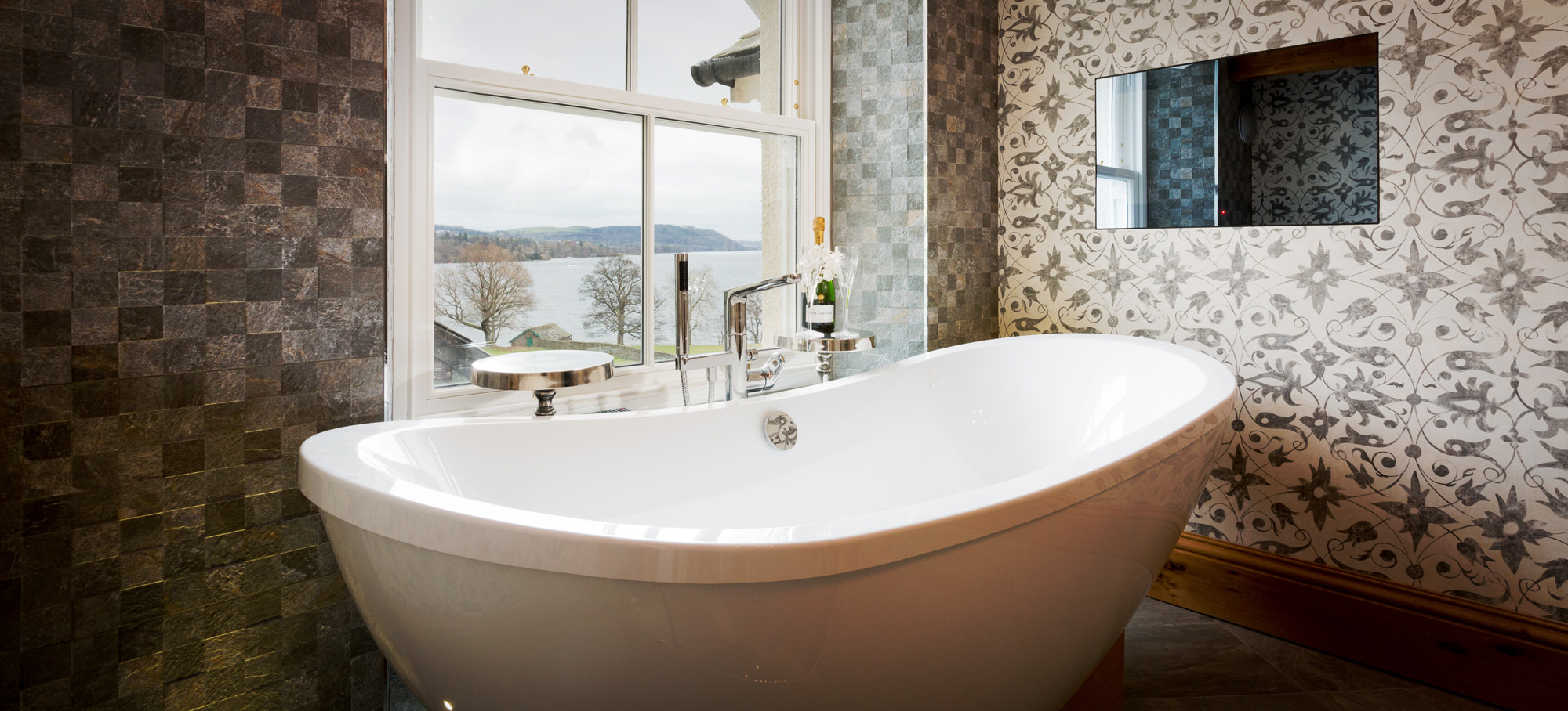 Bath at Waternook, Howtown. Overlooking Ullswater in the Lake District, UK. Copyright Ben Barden Photography Ltd. 2015