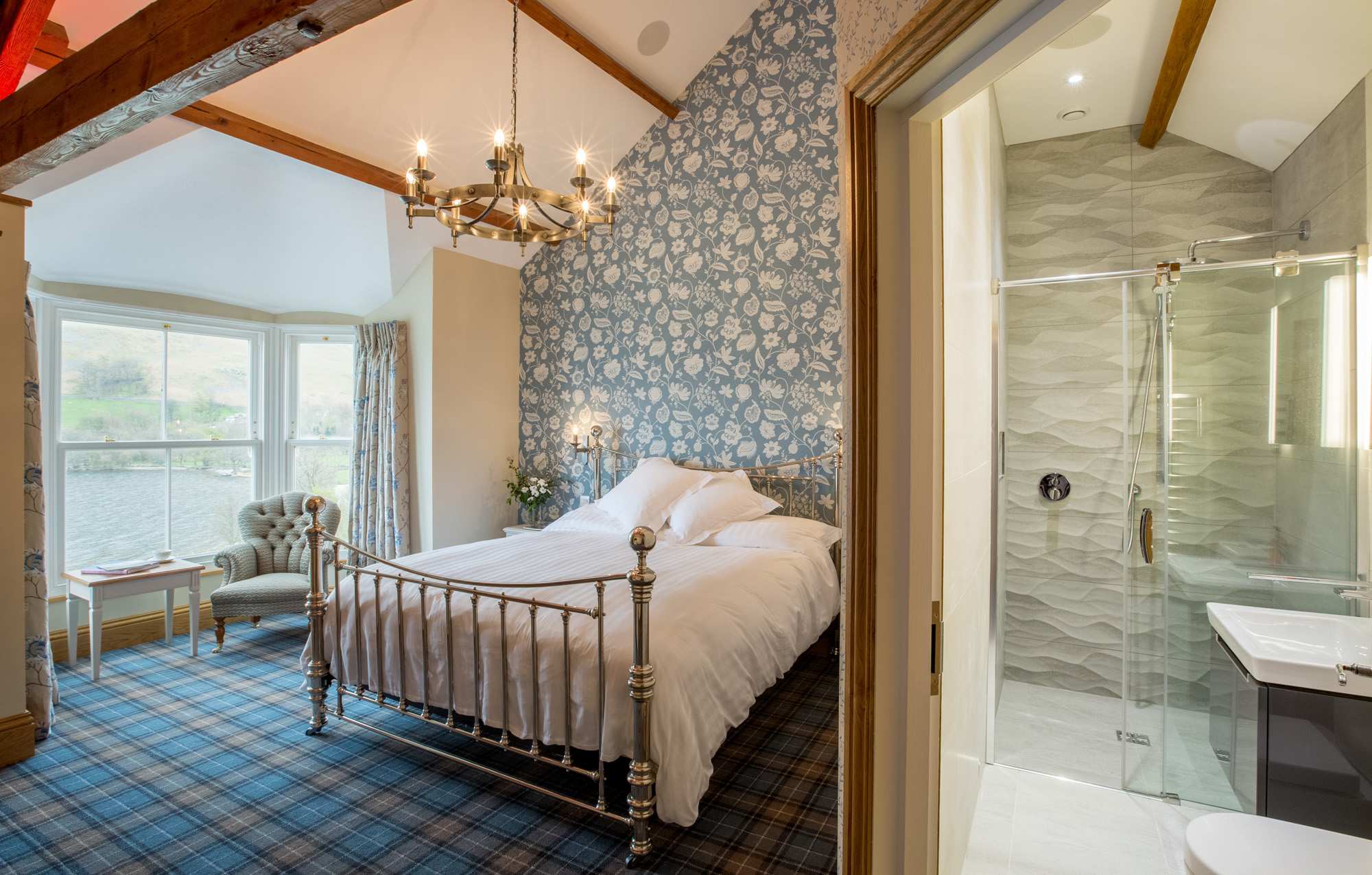 Bedroom at Waternook, Howtown. Overlooking Ullswater in the Lake District, UK. Copyright Ben Barden Photography Ltd. 2015
