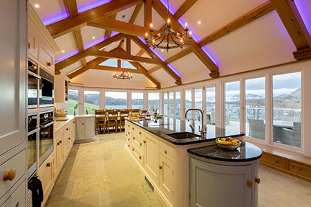 kitchen at Waternook, Howtown. Overlooking Ullswater in the Lake District, UK. Copyright Ben Barden Photography Ltd. 2015