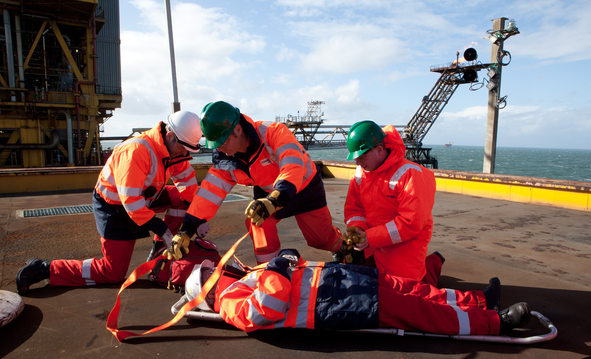 Medical simulation, gas rig, irish sea