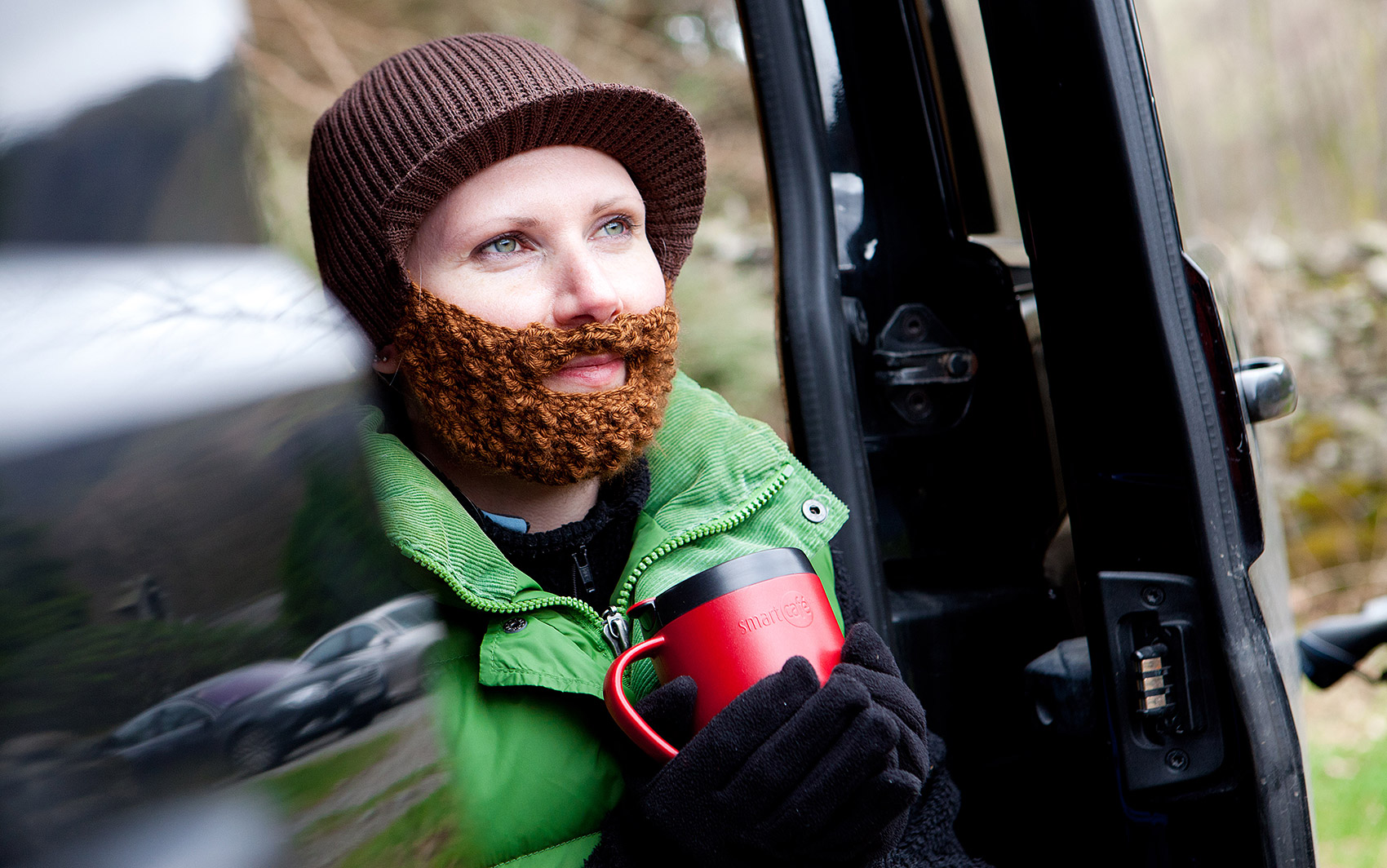 Beard Beanies - Girl in van
