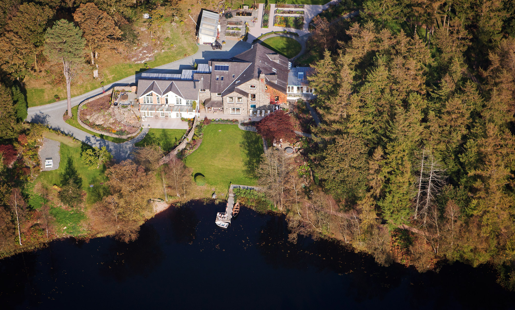 Ben Barden Photography - Lake House - Lake District - Aerial Shot